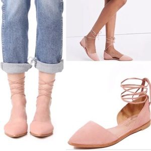 Madewell Blush Pink Pointed Toe Lace Flats